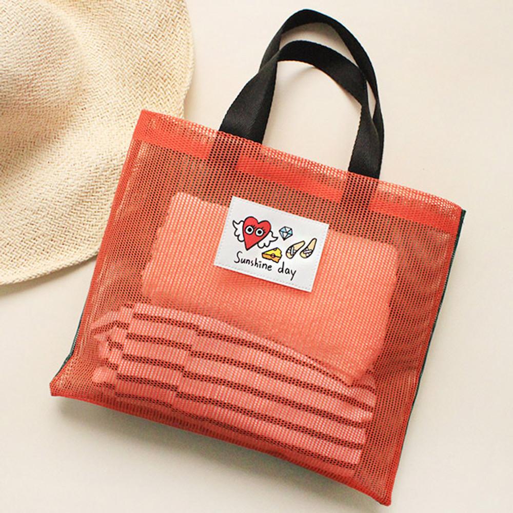 Orange - Afternoon Hello sunshine day small mesh tote bag
