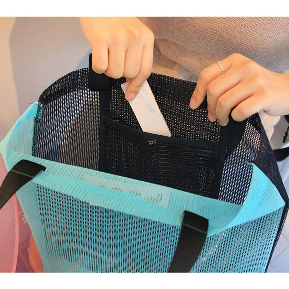 Inside pocket - Hello sunshine day mesh eco tote bag