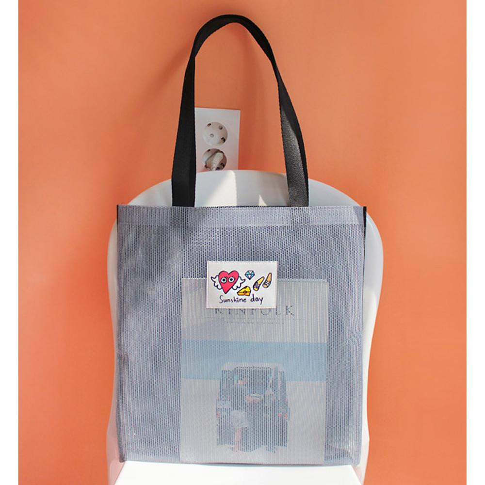 Gray - Hello sunshine day mesh eco tote bag