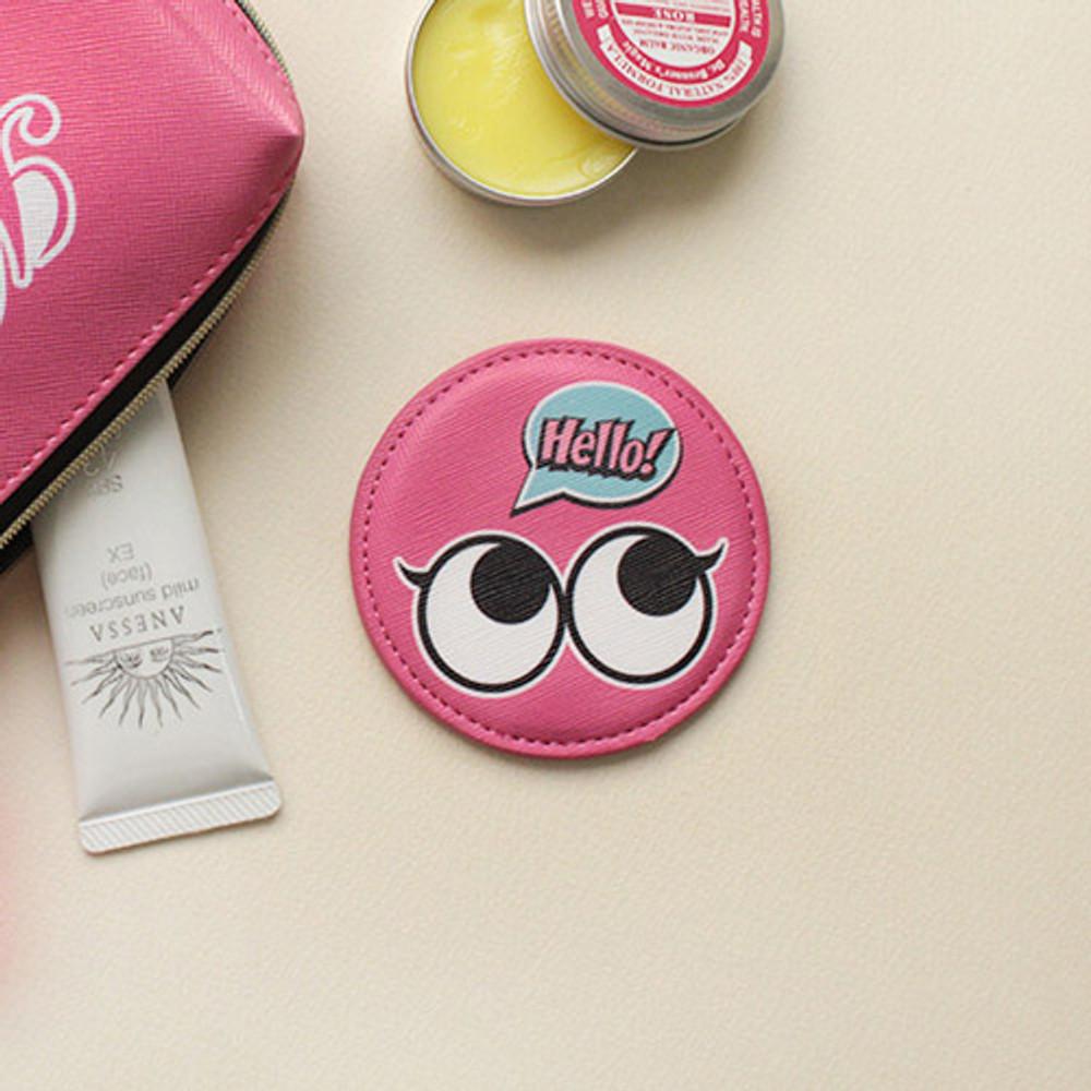 Pink - Hello cute illustration round hand mirror