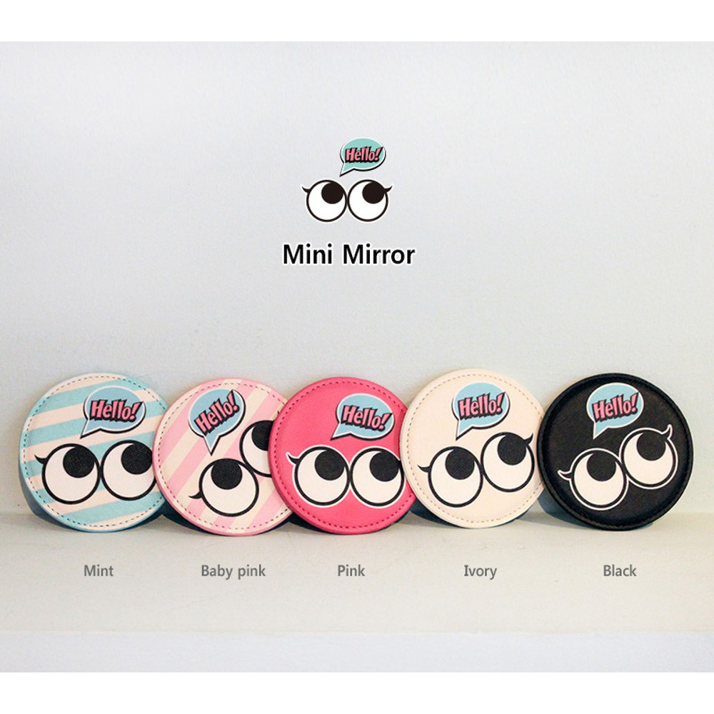 Colors of Hello cute illustration round hand mirror