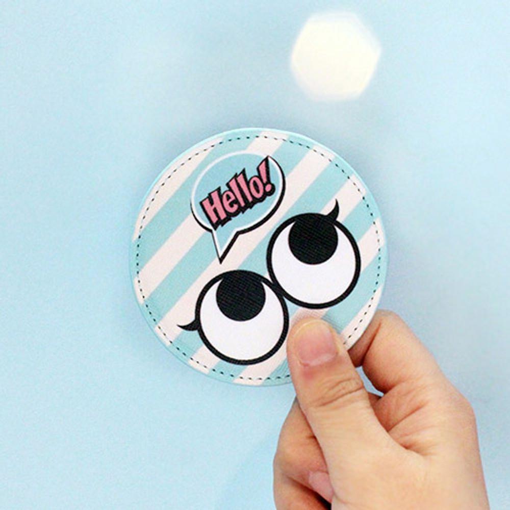 Mint - Hello cute illustration round hand mirror