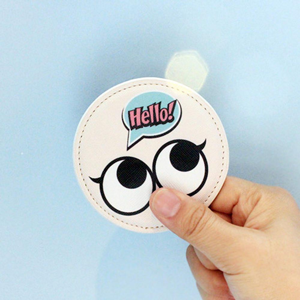 Ivory - Hello cute illustration round hand mirror