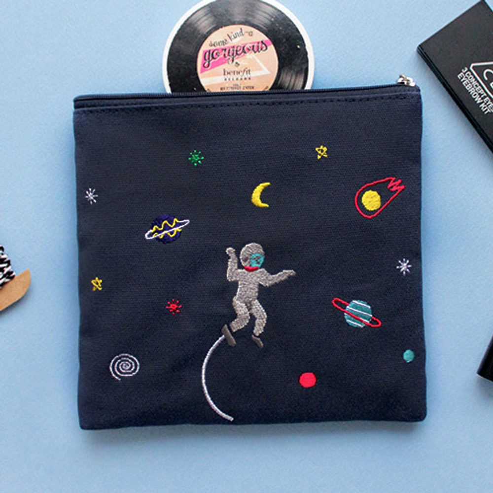 Space - In space medium cotton zipper pouch