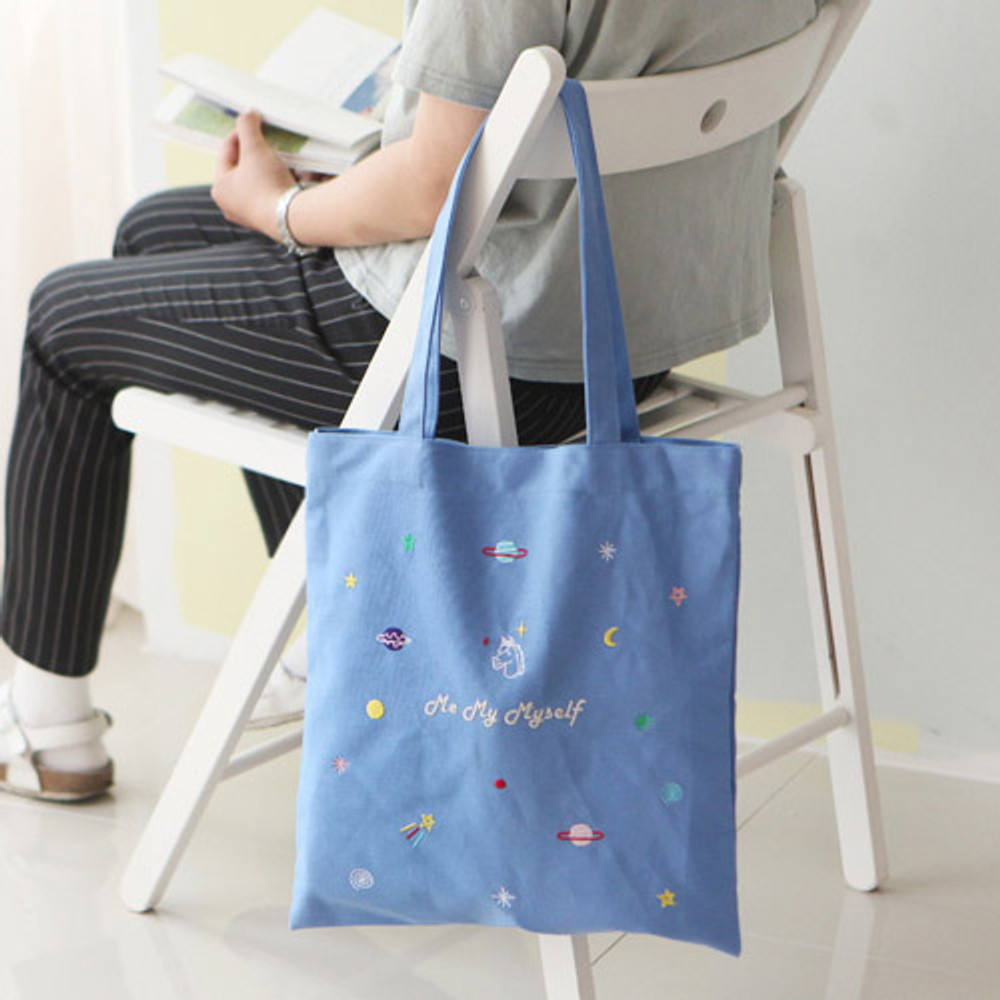 Unicorn - In space cotton shoulder tote bag