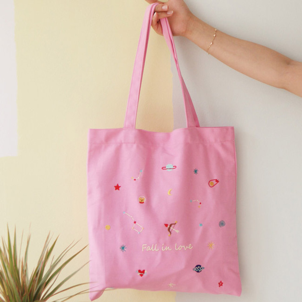 Love - In space cotton shoulder tote bag