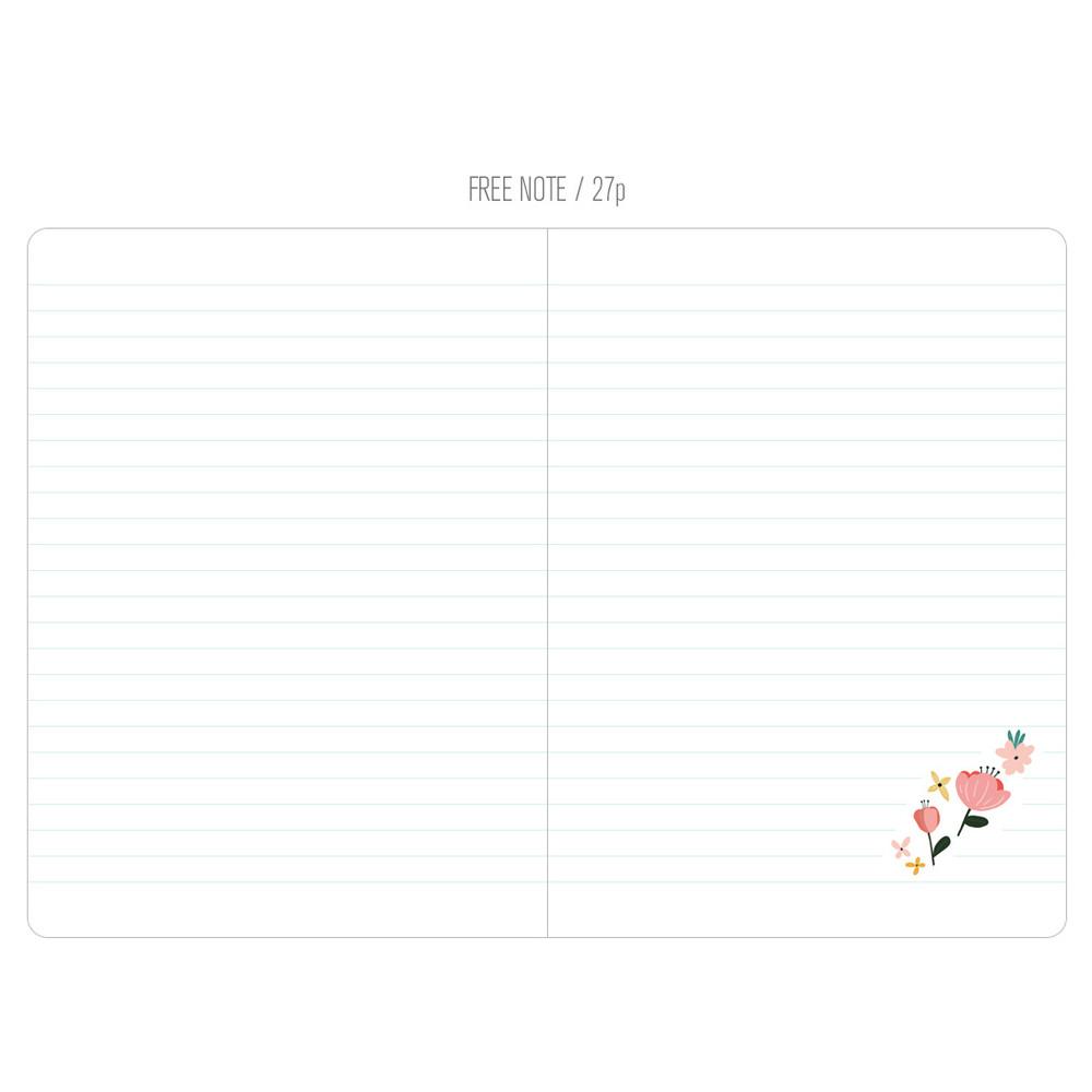 Free note - Premium flower pattern weekly undated small journal