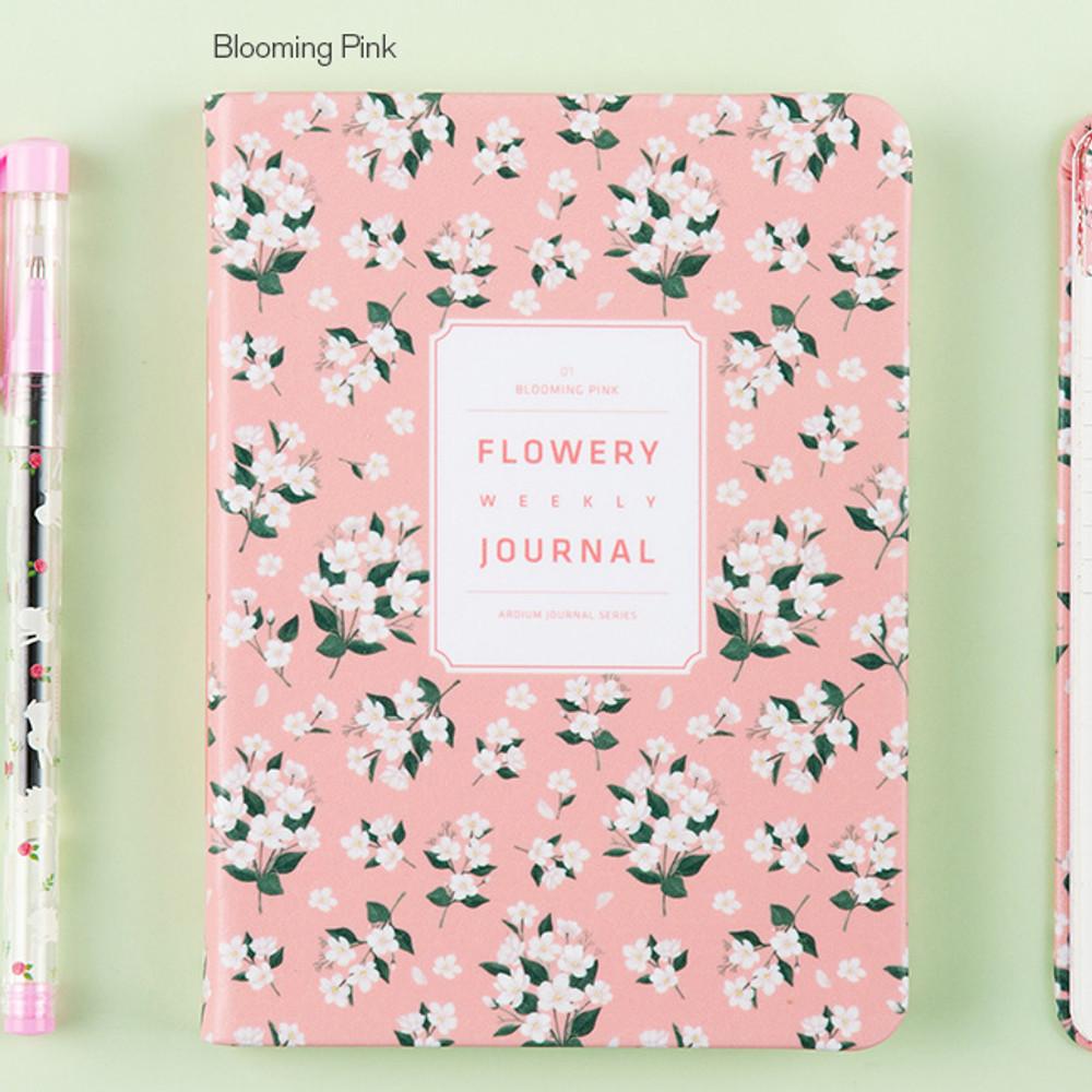 Blooming pink - Premium flower pattern weekly undated journal