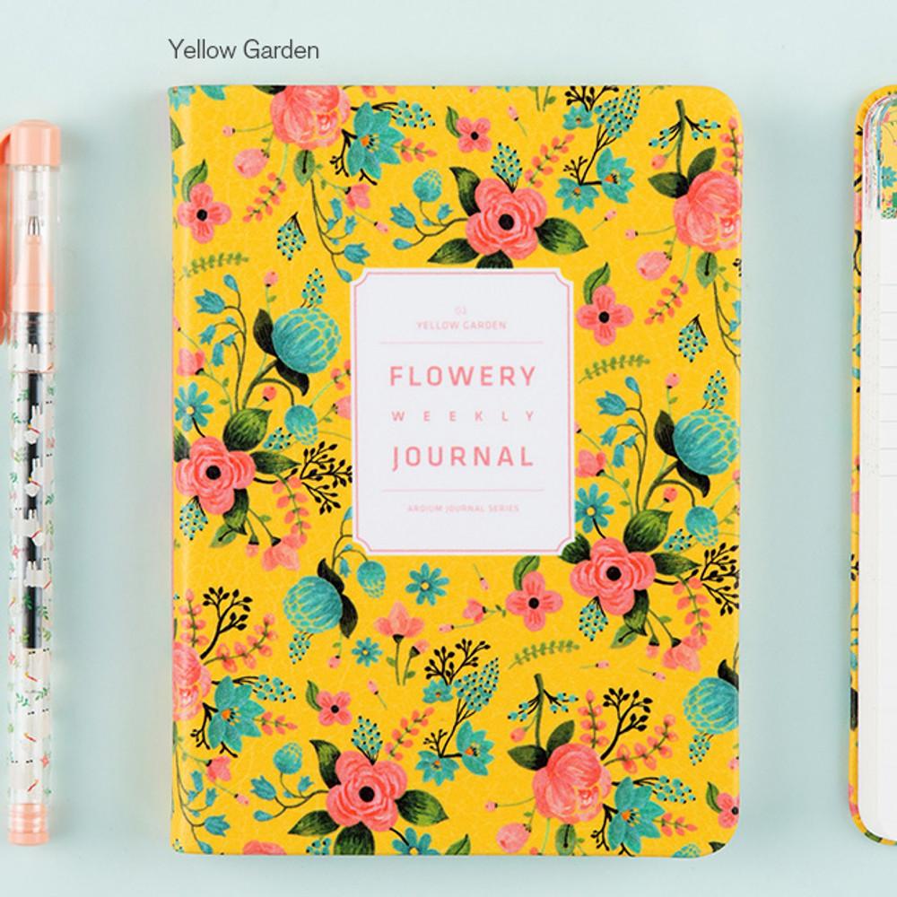 Yellow garden - Premium flower pattern weekly undated journal