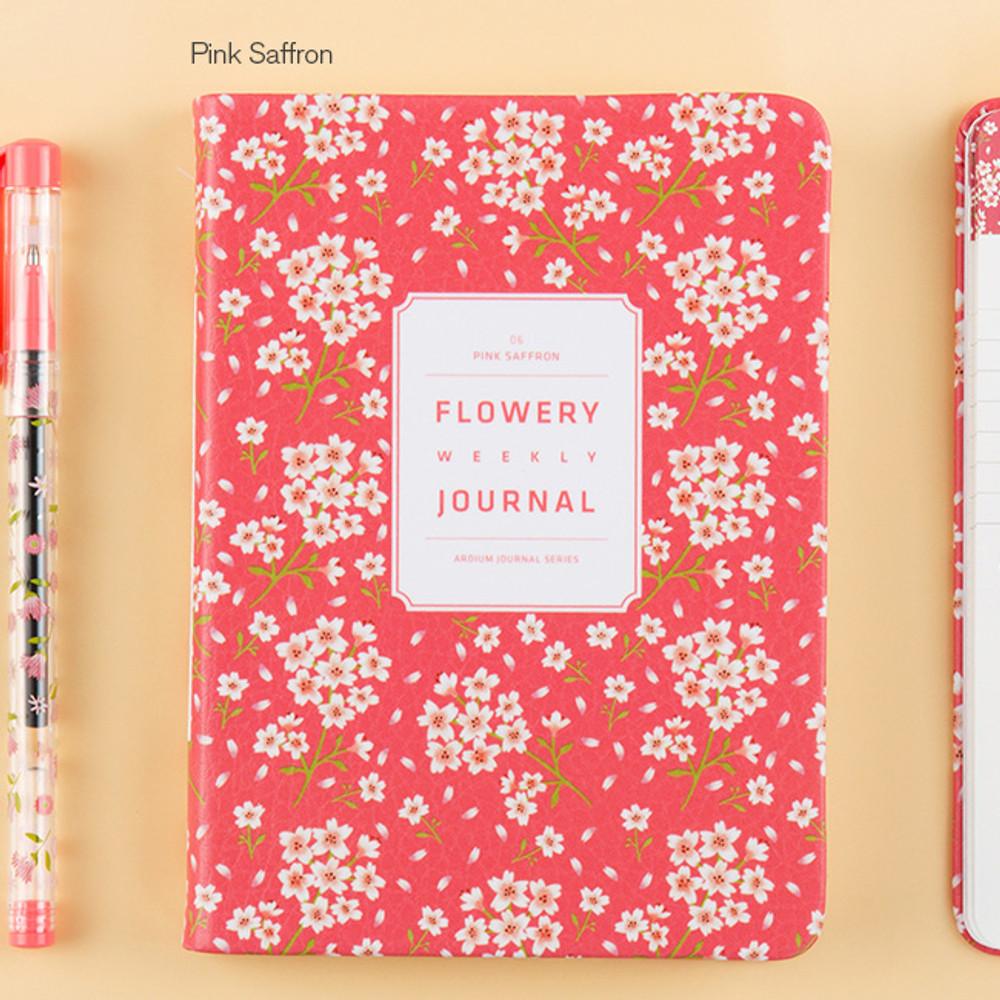 Pink saffron - Premium flower pattern weekly undated journal