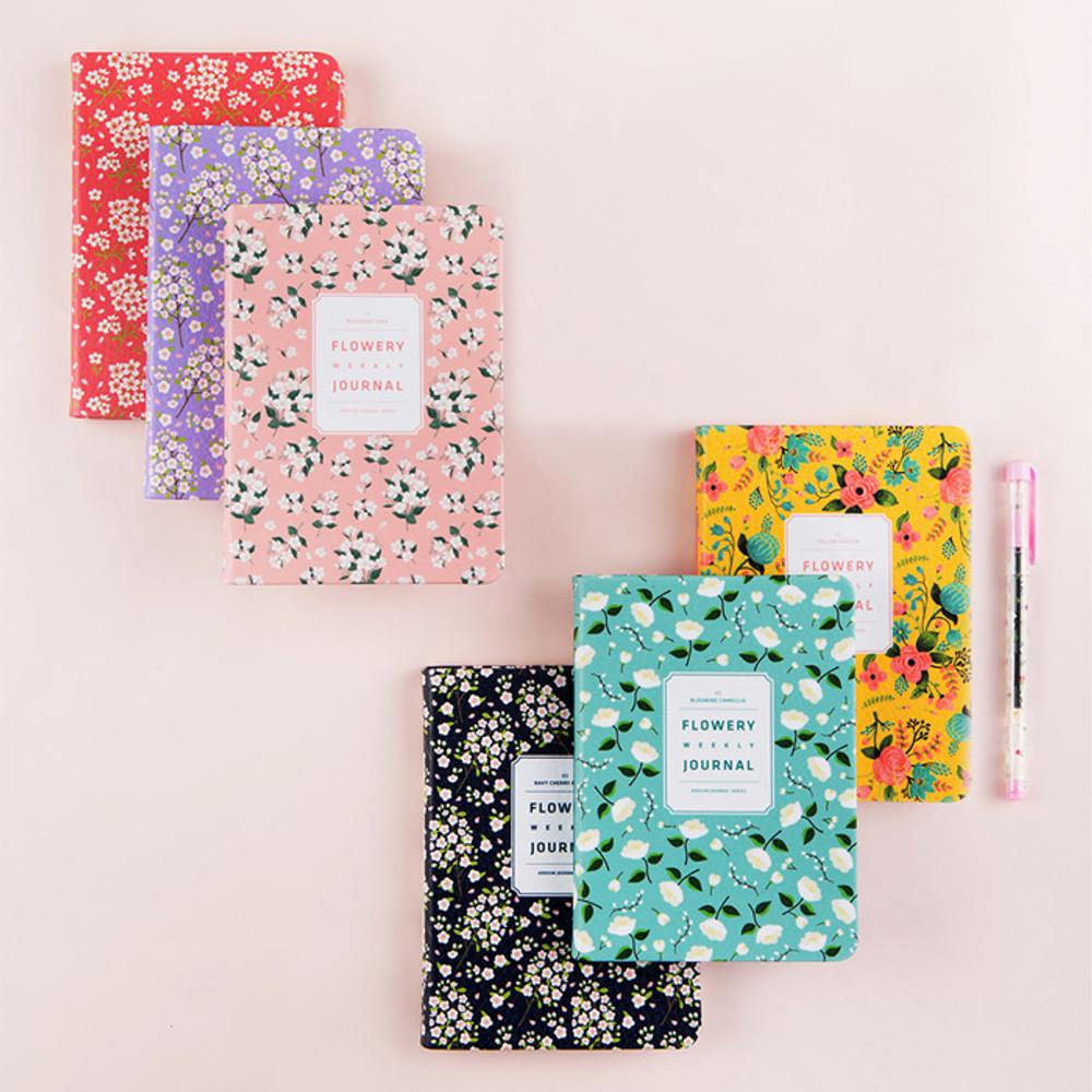 Premium flower pattern weekly undated small journal