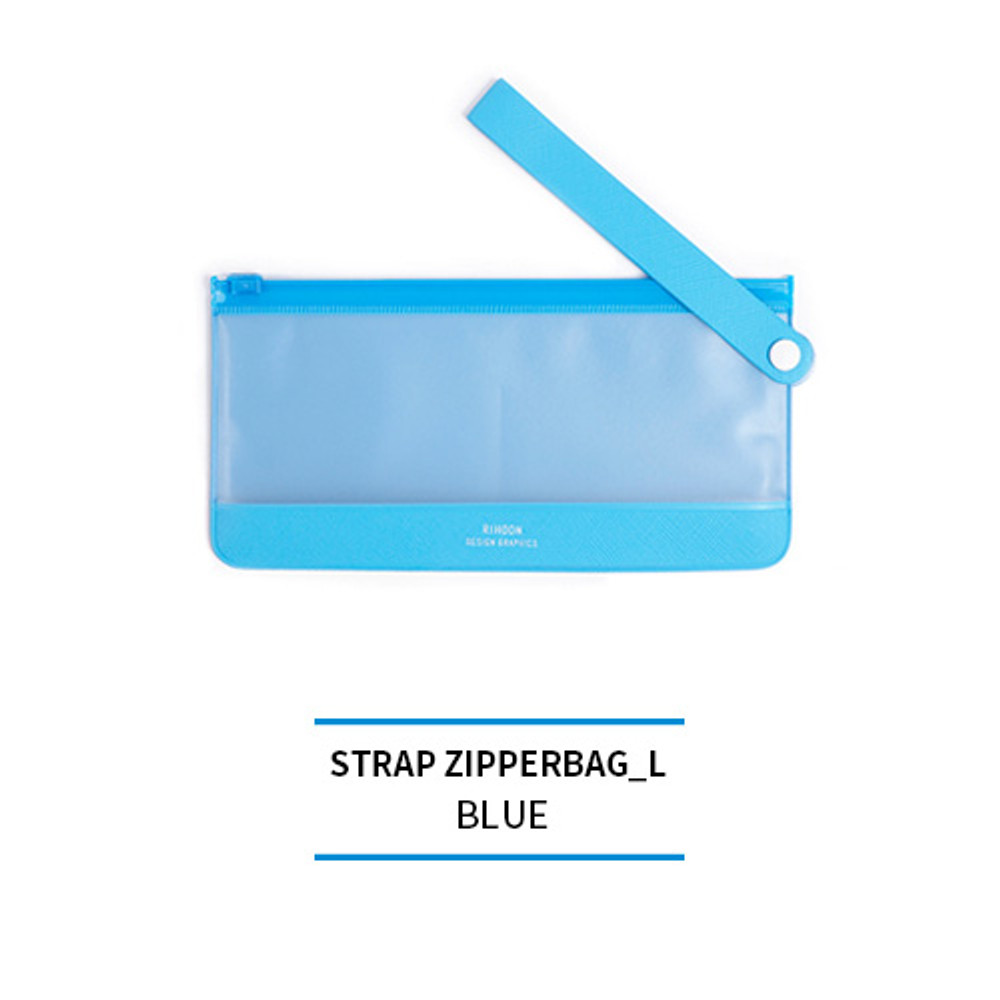 Blue - Rihoon Translucent large zip lock flat pouch