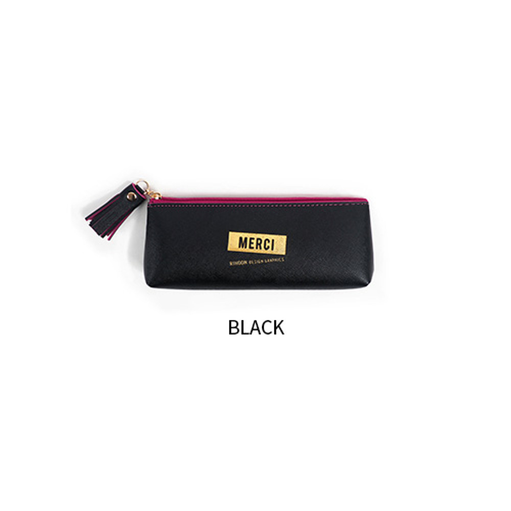 Black - Merci tassel zipper pencil case