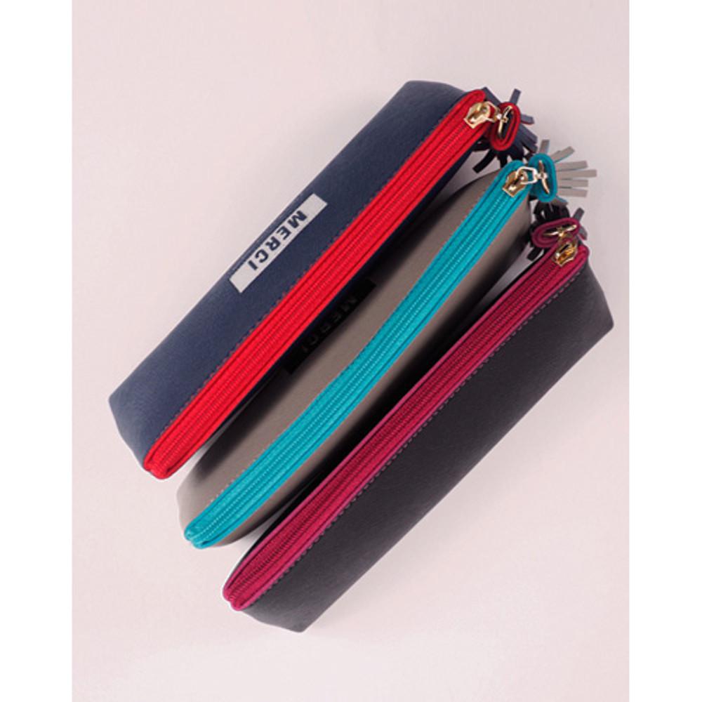 Merci tassel zipper pencil case