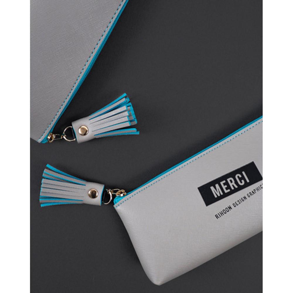 Gray - Merci tassel zipper pencil case