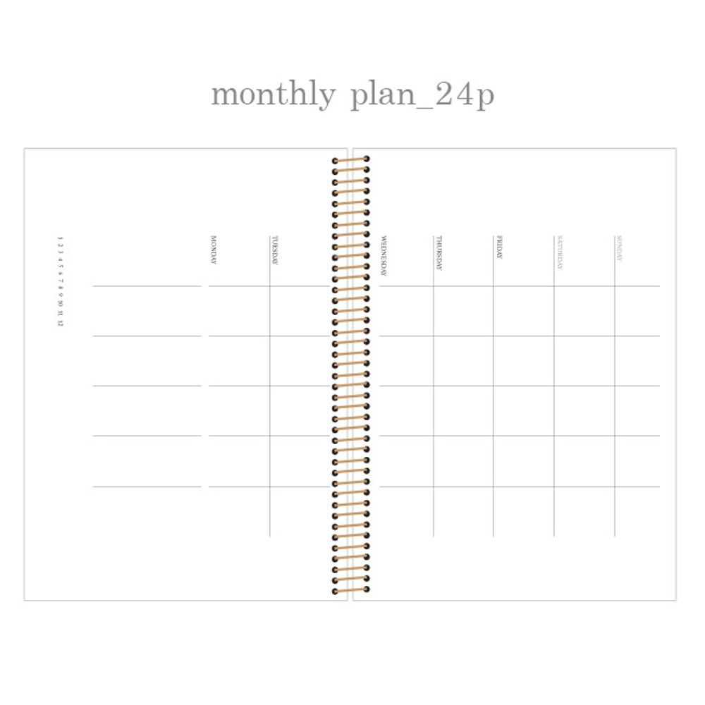 Monthly plan - Slow and simple wirebound monthly undated planner