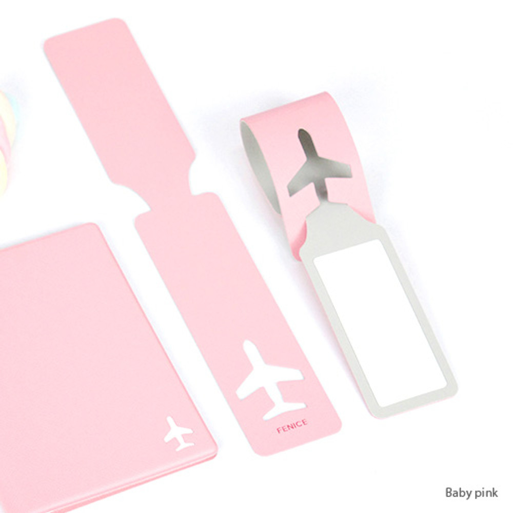 Baby pink - Fenice Simple airplan travel luggage name tag