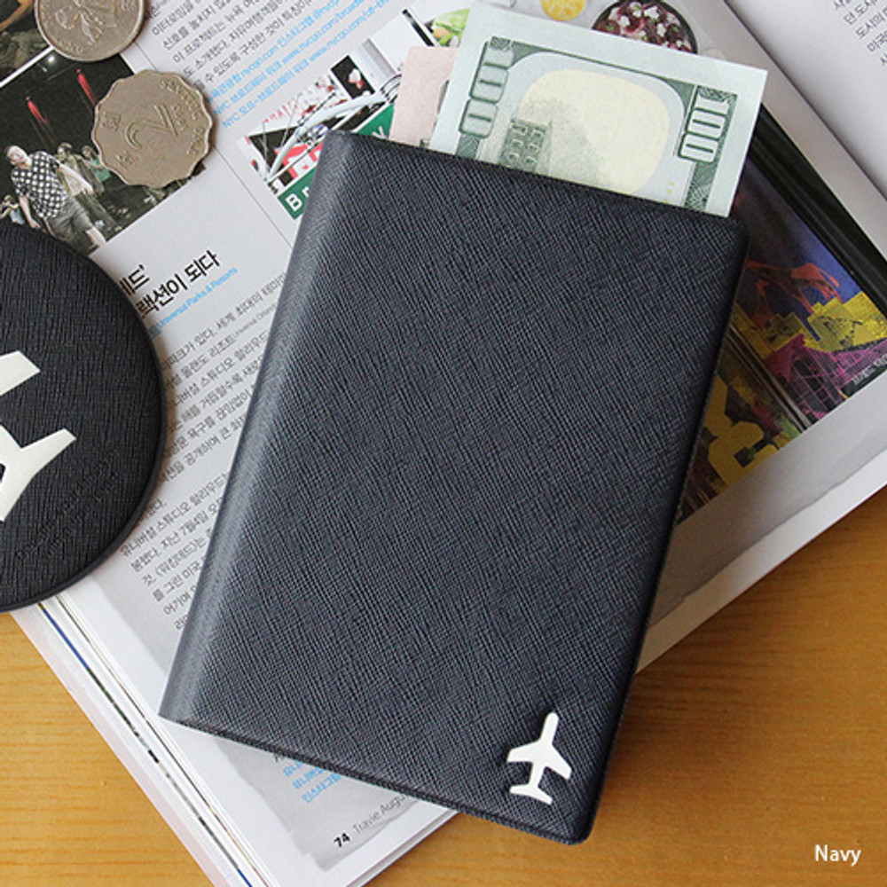 Navy - Fenice Simple RFID blocking small passport cover