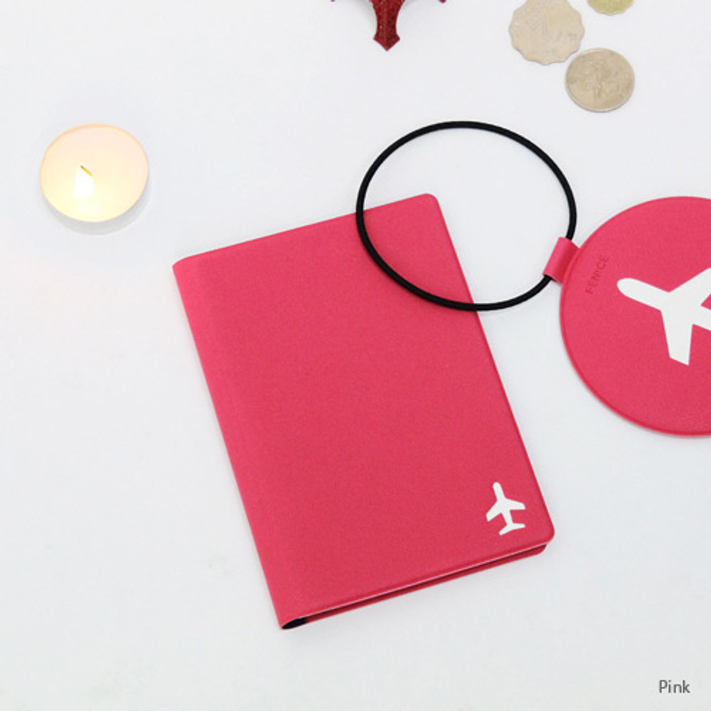 Pink - Fenice Simple RFID blocking small passport cover