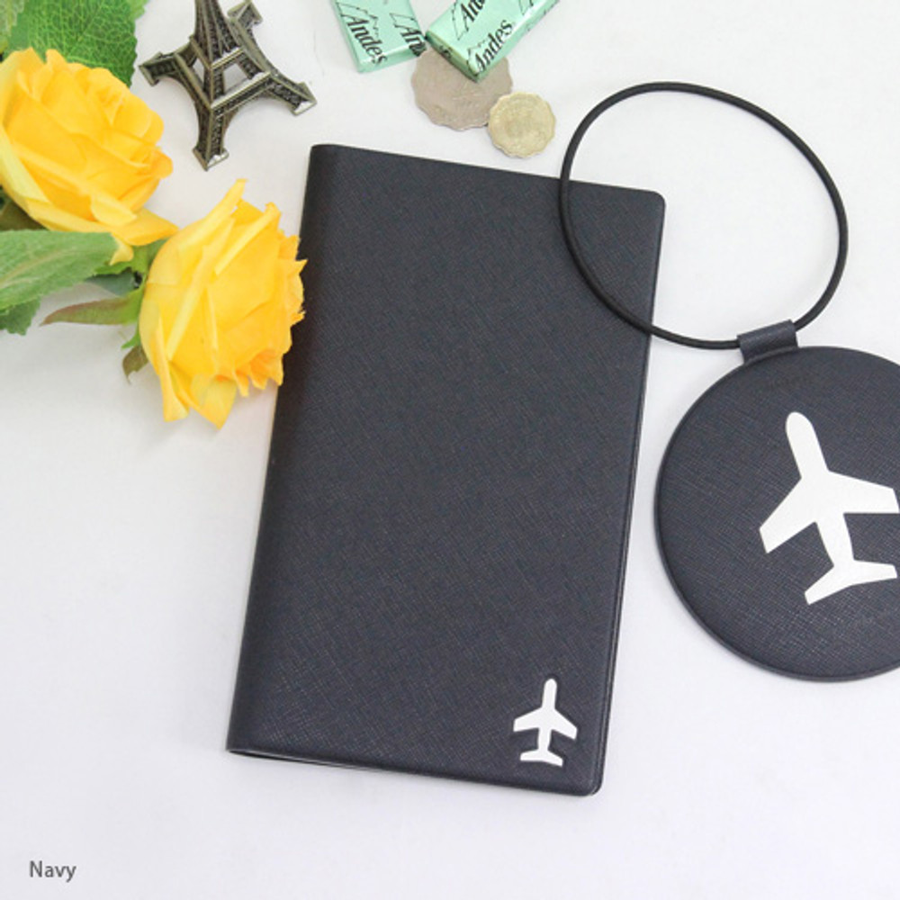 Navy - Fenice Simple RFID blocking medium passport cover