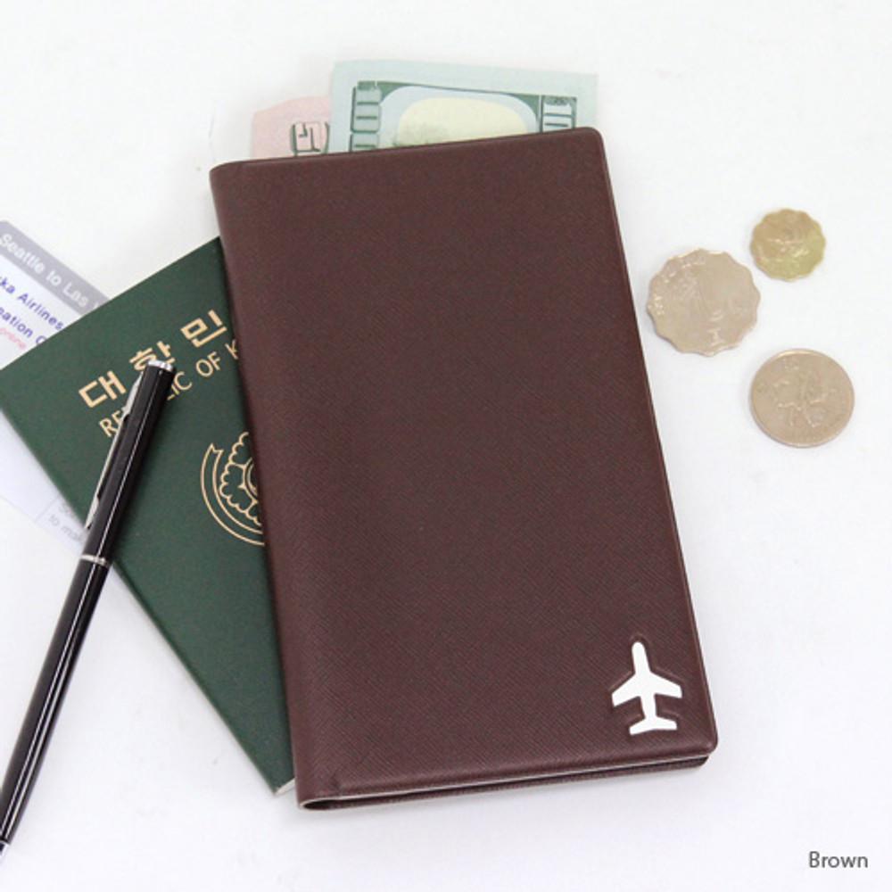 Brown - Fenice Simple RFID blocking medium passport cover