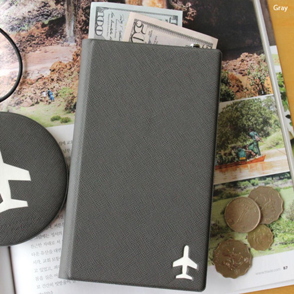 Gray - Fenice Simple RFID blocking medium passport cover