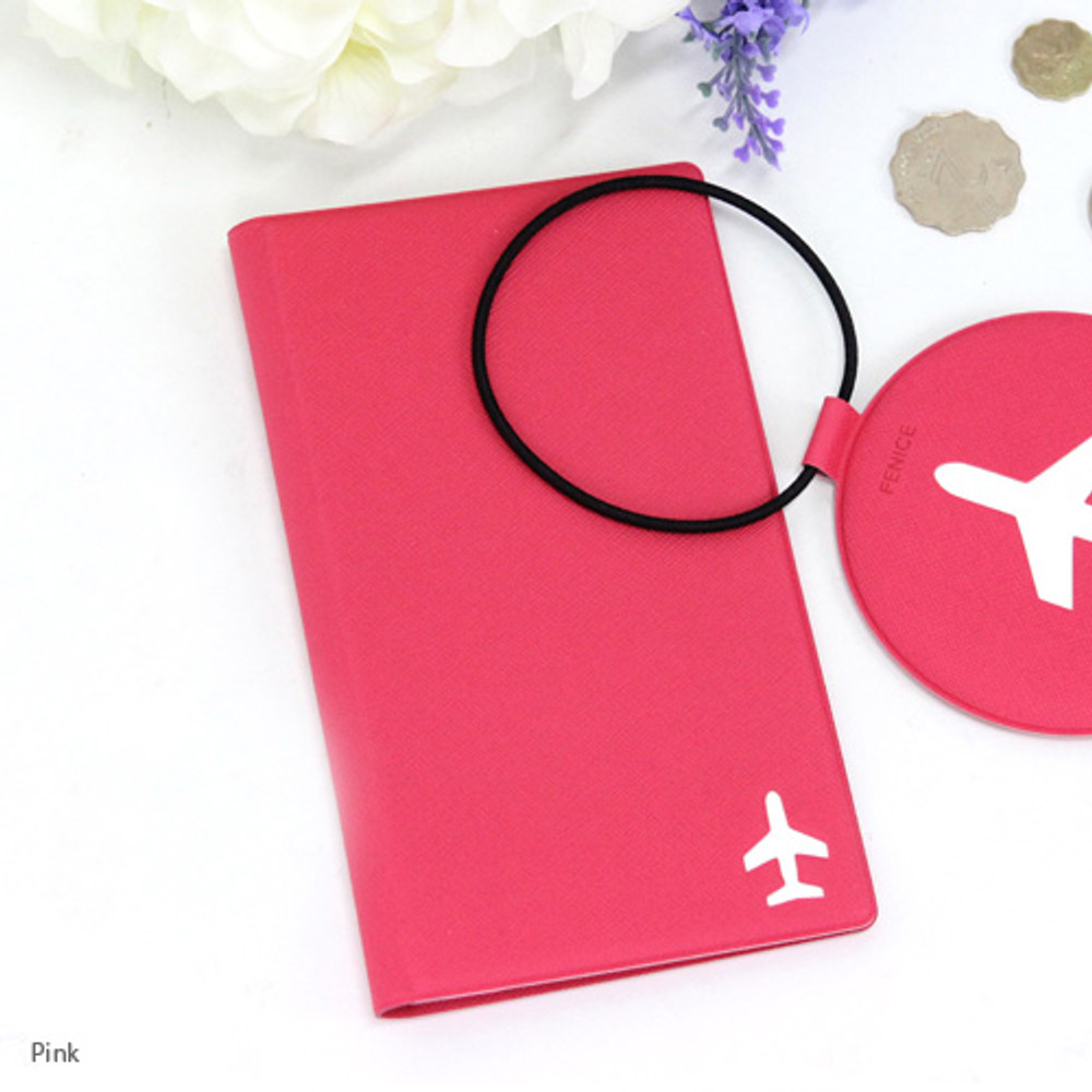 Pink - Fenice Simple RFID blocking medium passport cover
