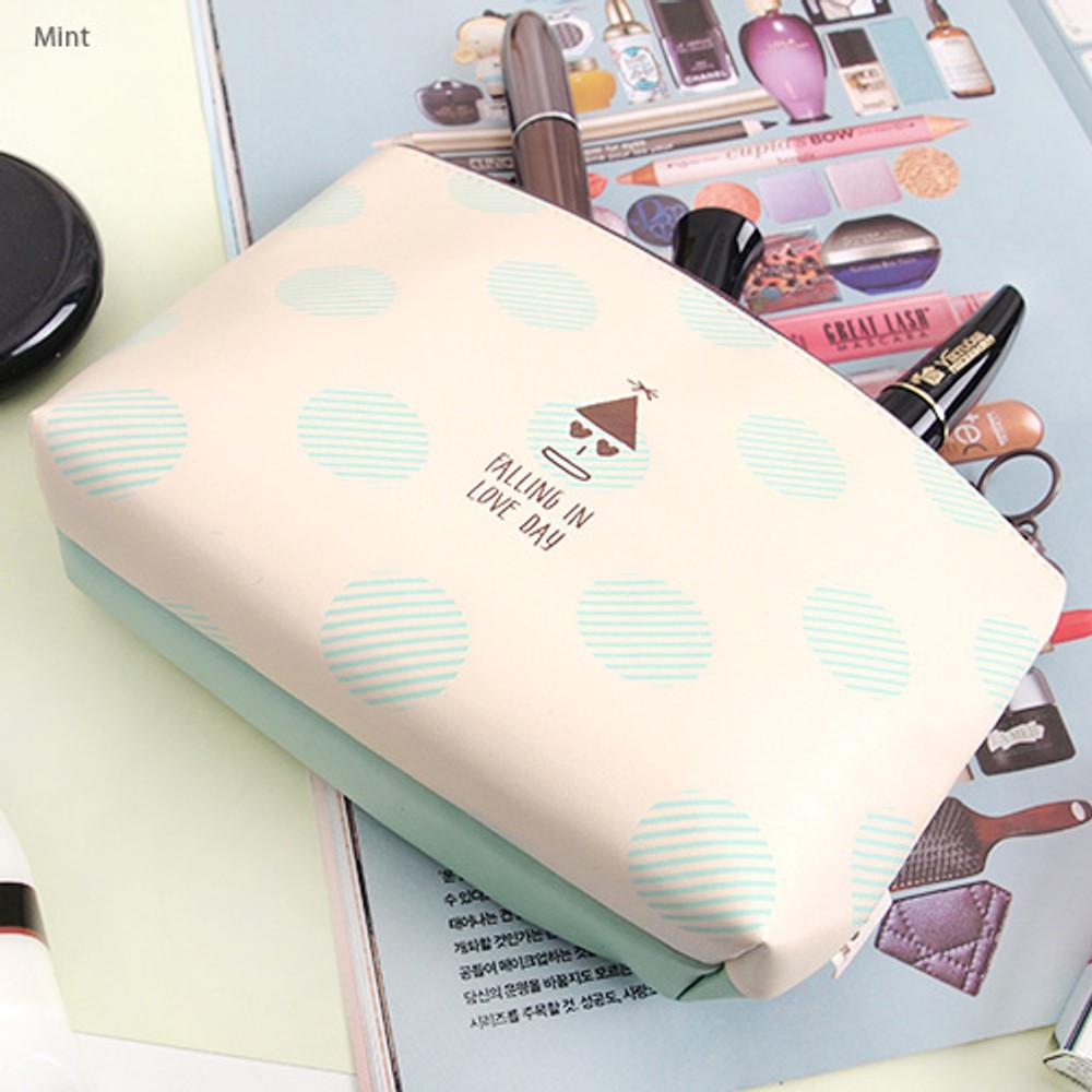 Mint - Falling in love day dot pattern zipper pouch