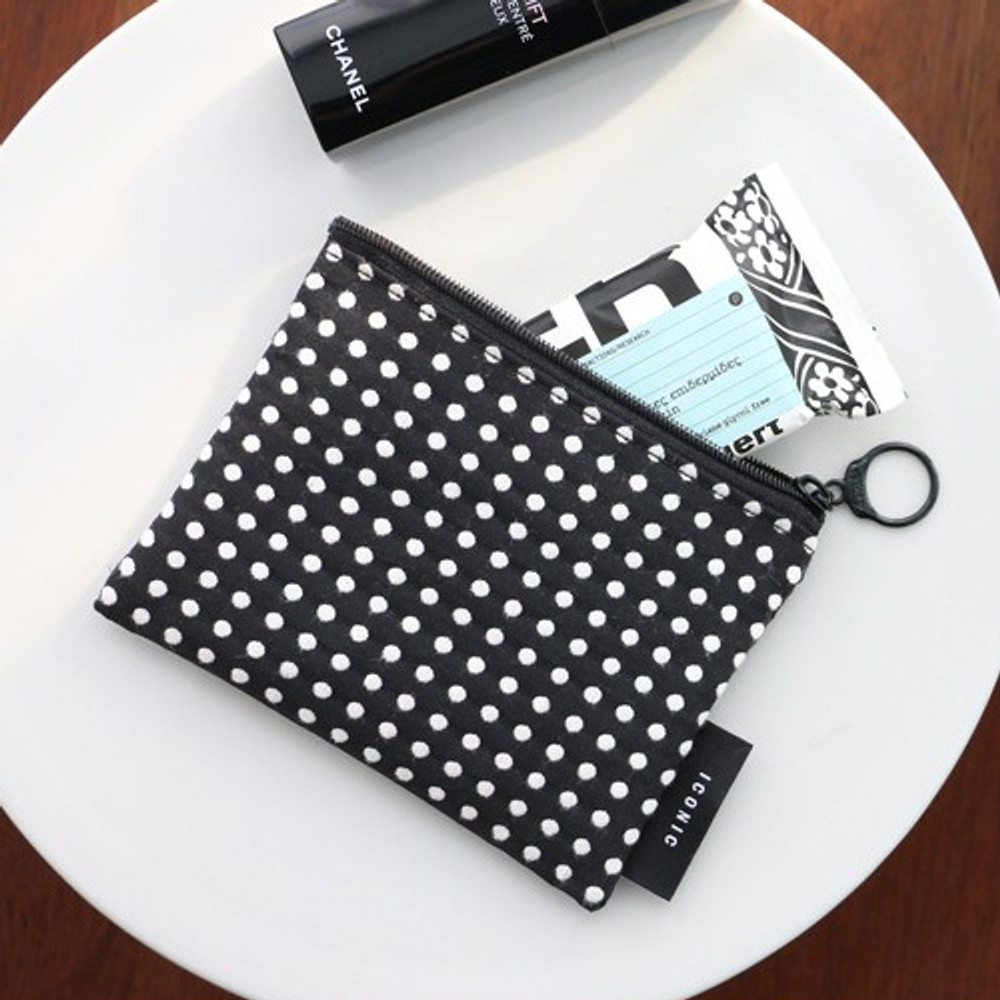 Grid dot - Plain pattern small flat zipper pouch