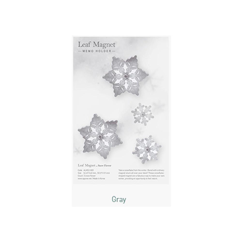 Gray - Appree Snow flower magnet set