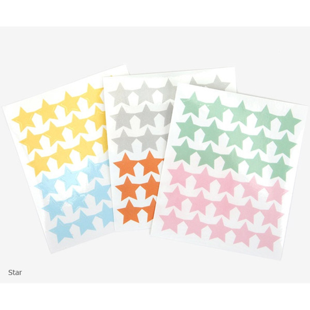 Star solid - Transparent circle and star deco sticker set ver.3