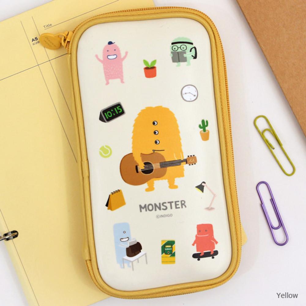 Yellow - Indigo Monster multi zip around pencil case
