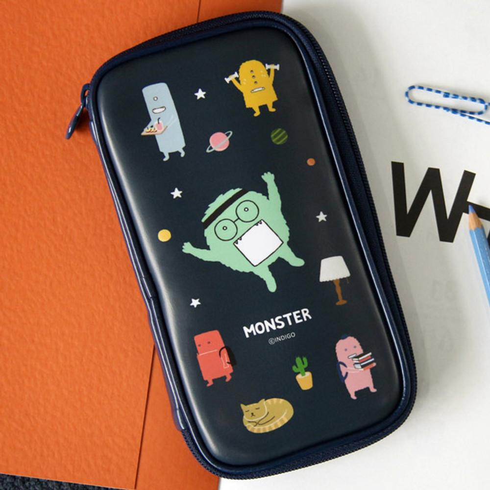 Navy - Indigo Monster multi zip around pencil case
