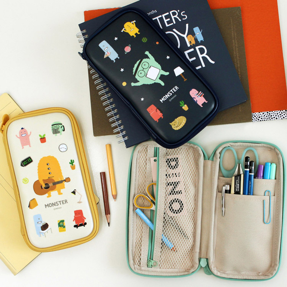 Indigo Monster multi zip around pencil case