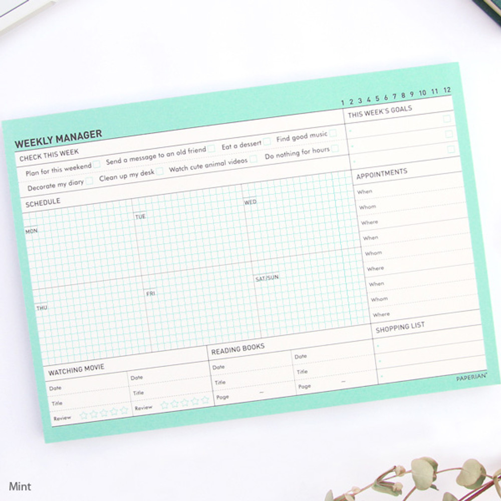 Mint - Schedule manager undated weekly desk planner