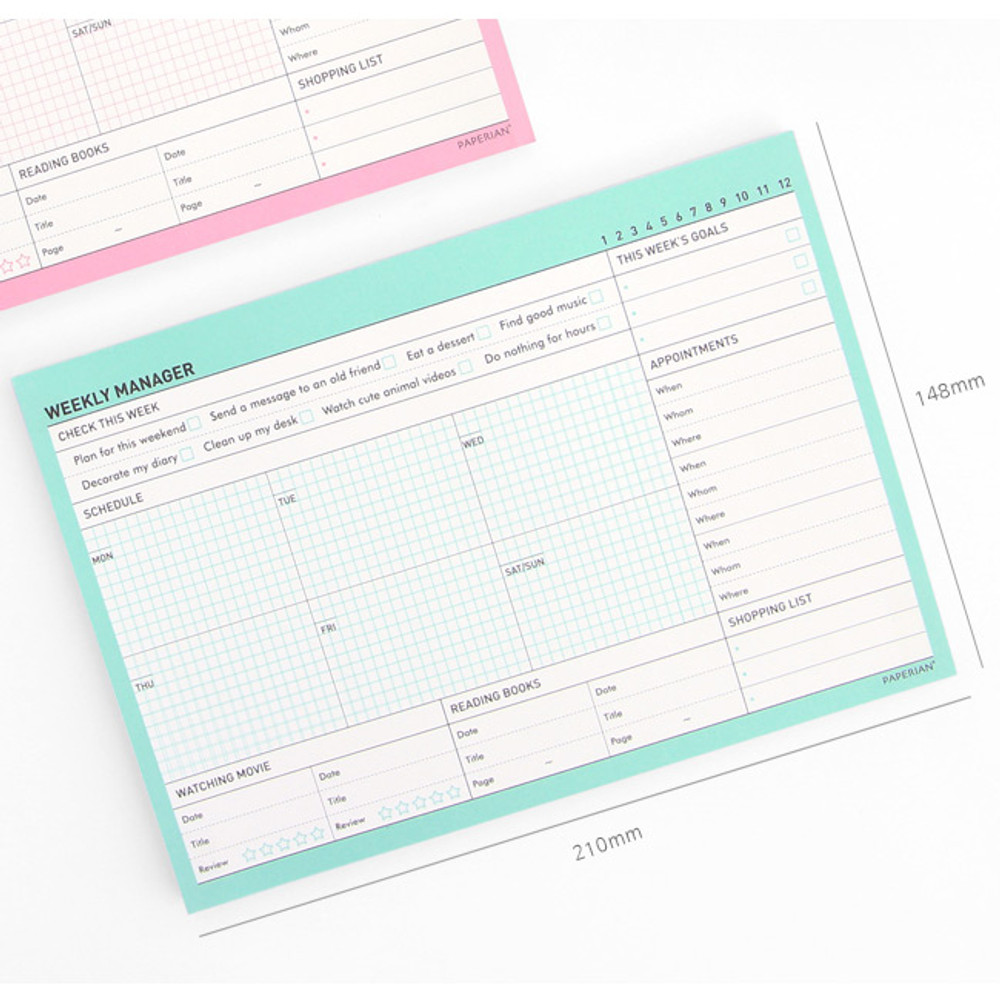 Size of Schedule manager undated weekly desk planner