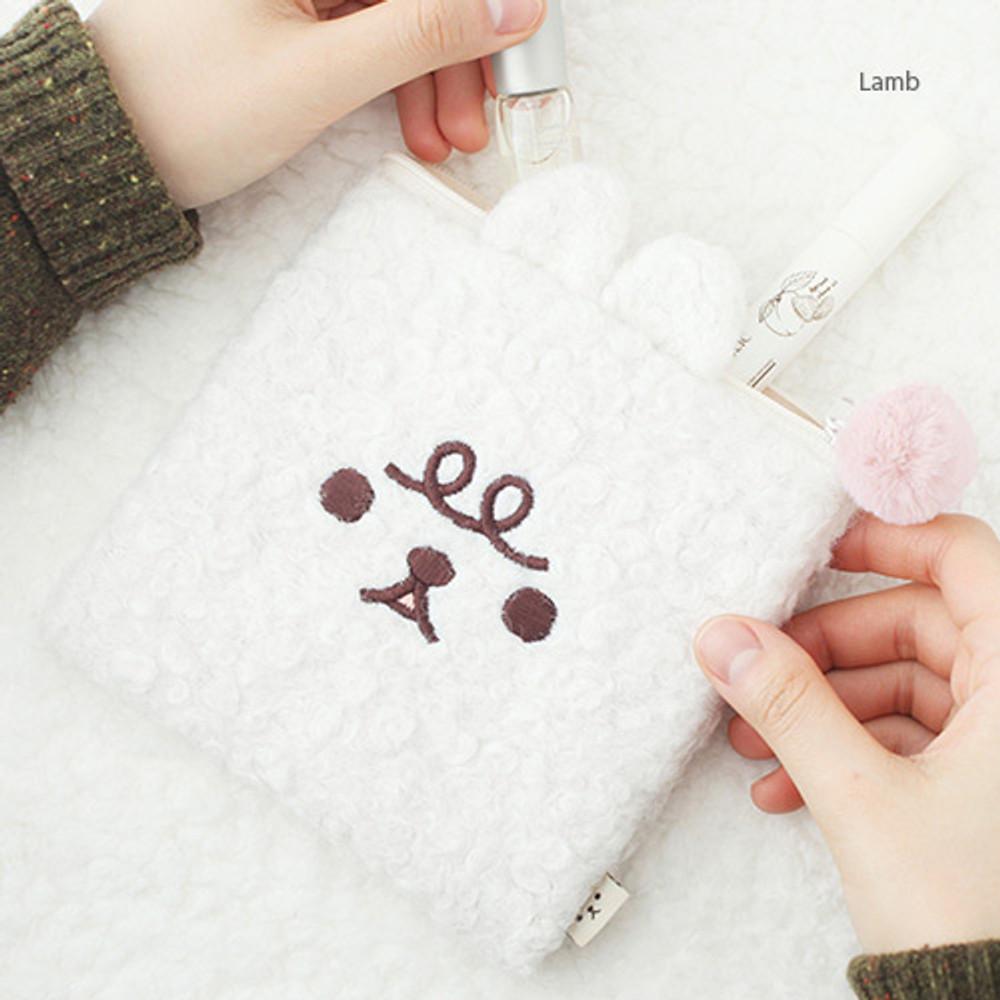 Lamb - Popuree poodle small zipper pouch