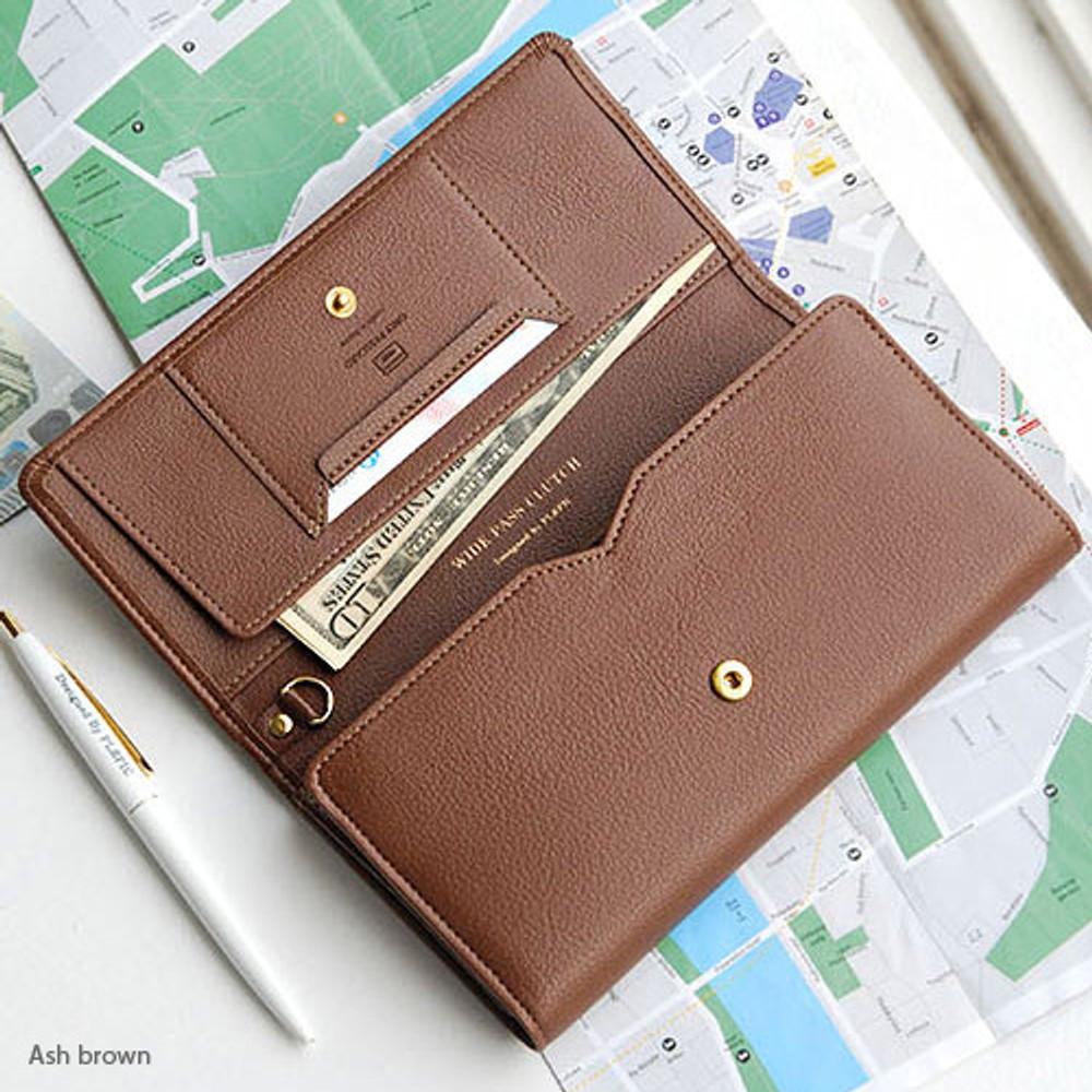 Ash brown - Wide pass slim clutch wallet