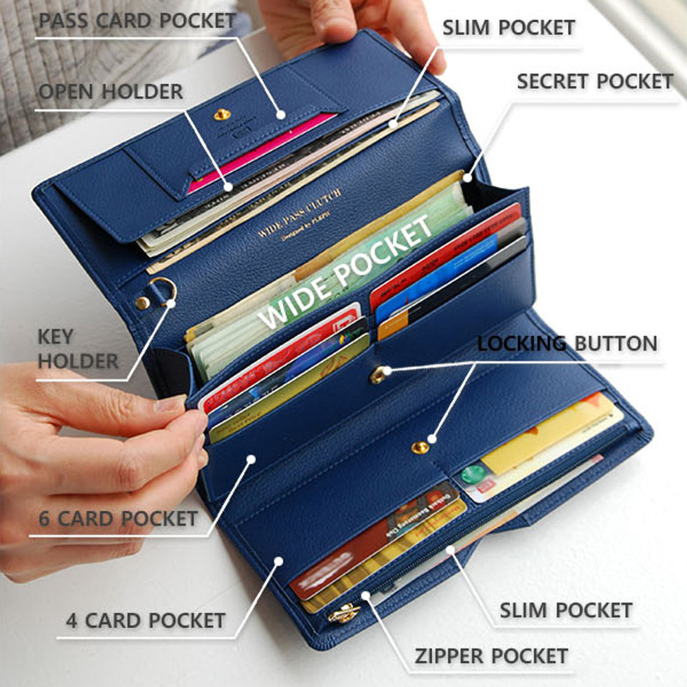 Composition of Wide pass slim clutch wallet