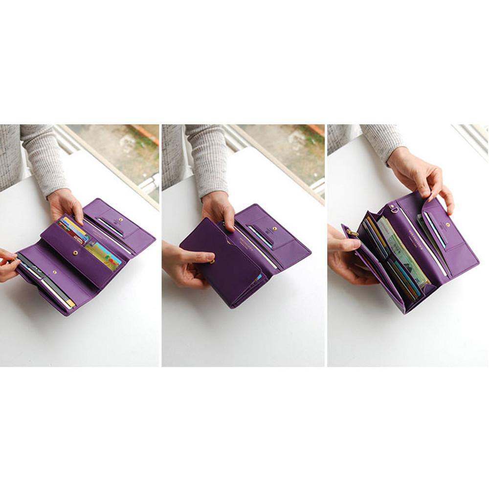 Wide pass slim clutch wallet