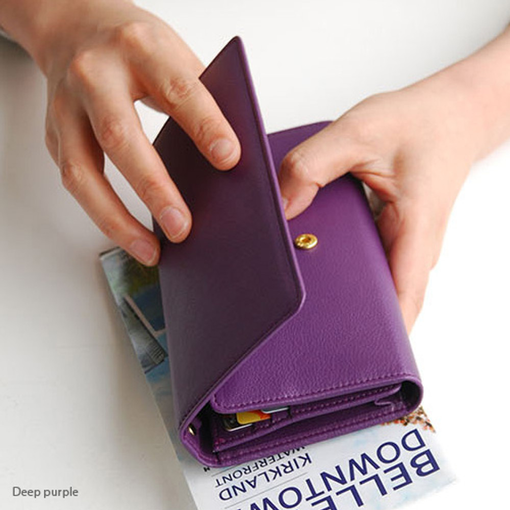 Deep purple - Wide pass slim clutch wallet