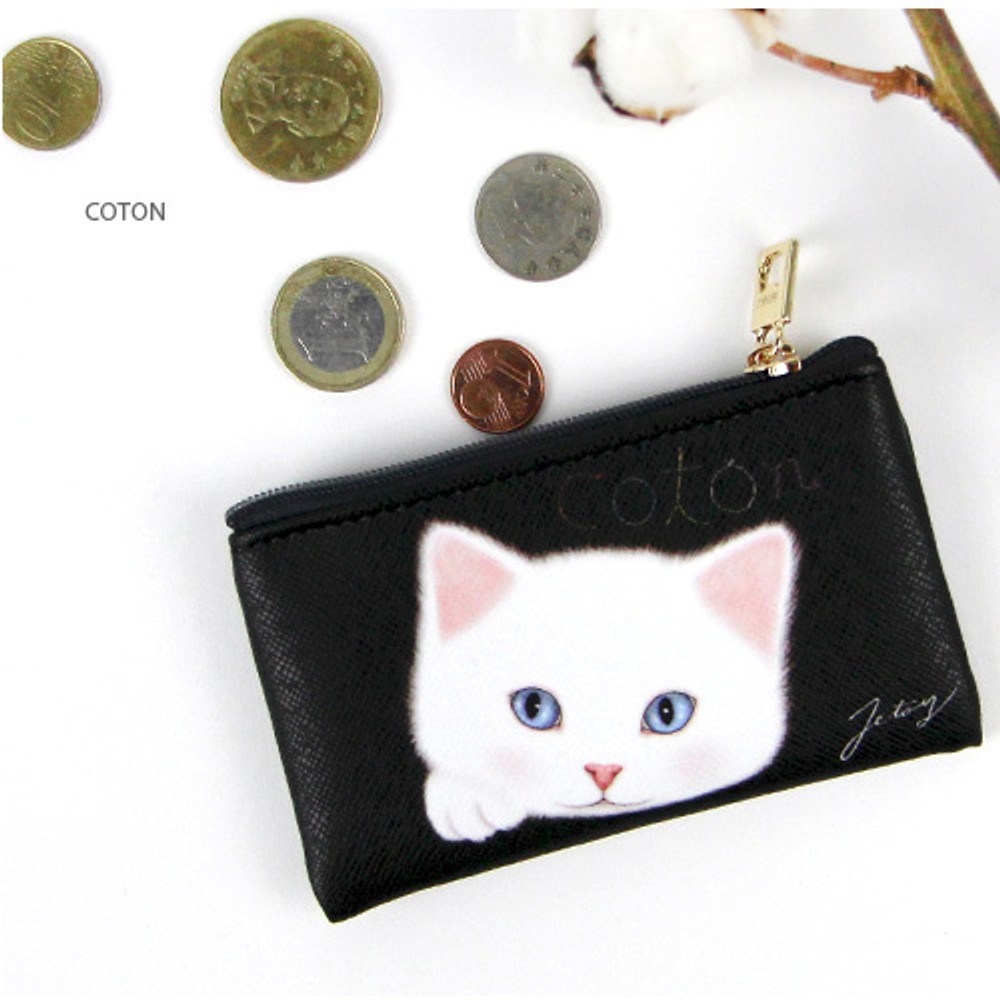 Coton - Choo Choo cat slim zipper card case