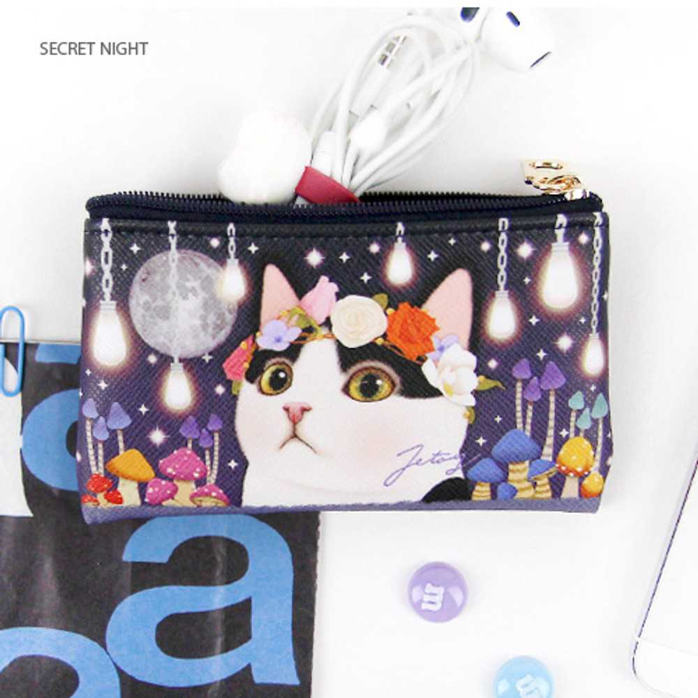 Secret night - Choo Choo cat slim zipper card case