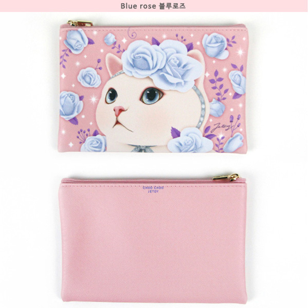 Blue rose - Choo Choo cat slim zipper pouch