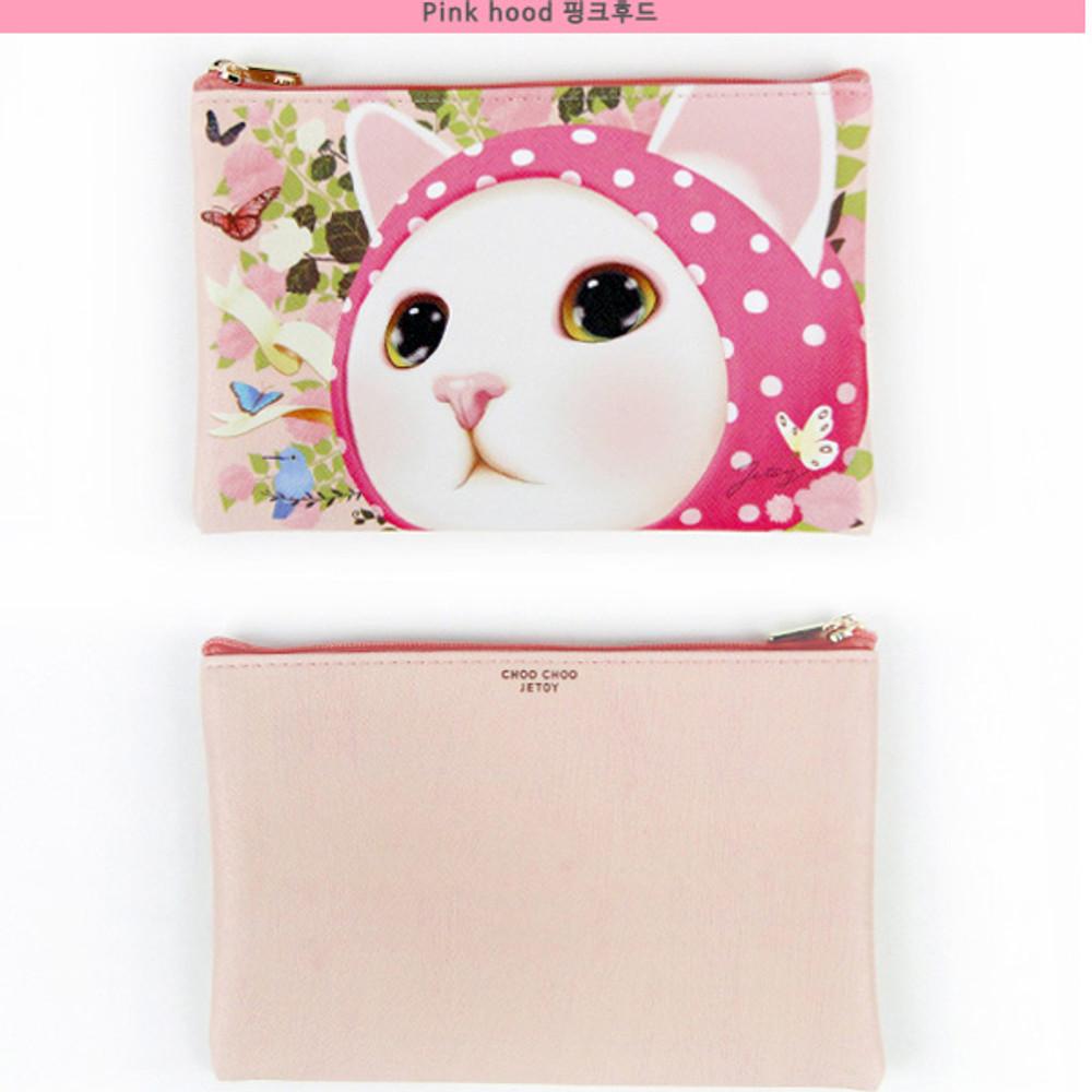 Pink hood - Choo Choo cat slim zipper pouch