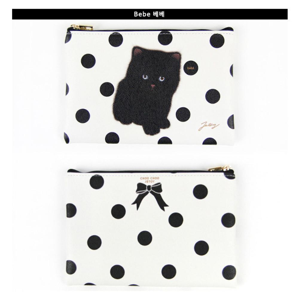 Bebe - Choo Choo cat slim zipper pouch