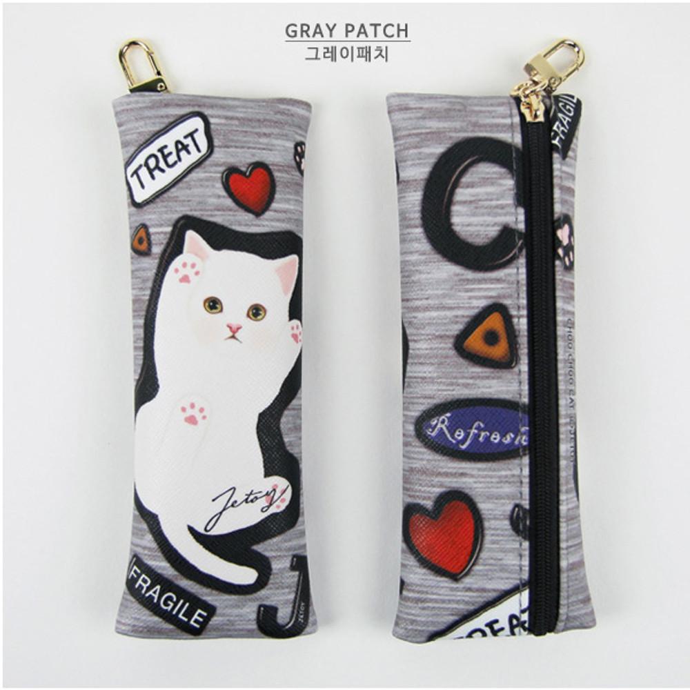 Gray patch - Choo Choo cat slim pencil case