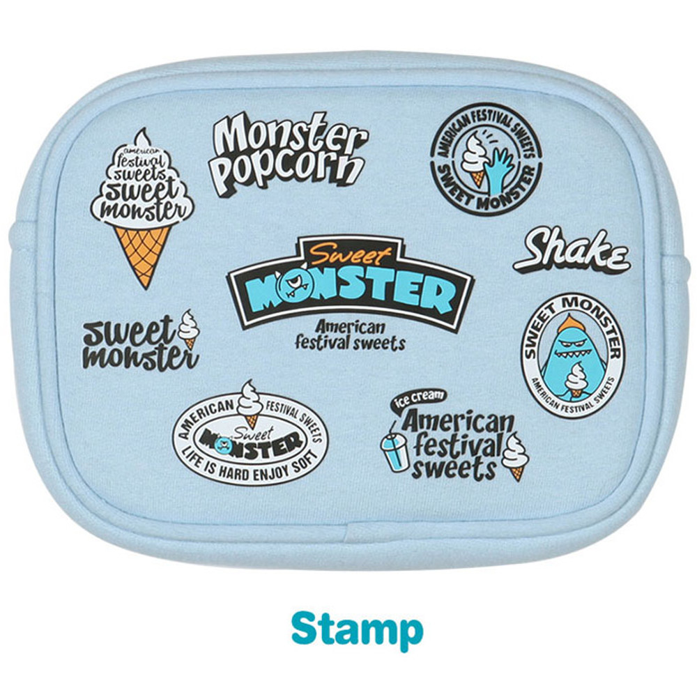 Stamp - Antenna shop Monster square large zipper pouch
