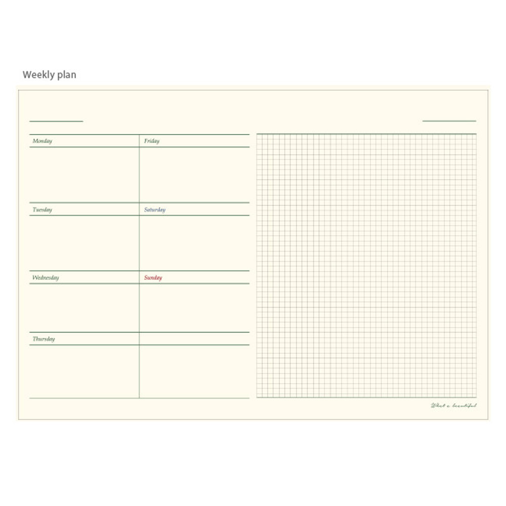 Weekly plan - What a beautiful weekly undated diary scheduler