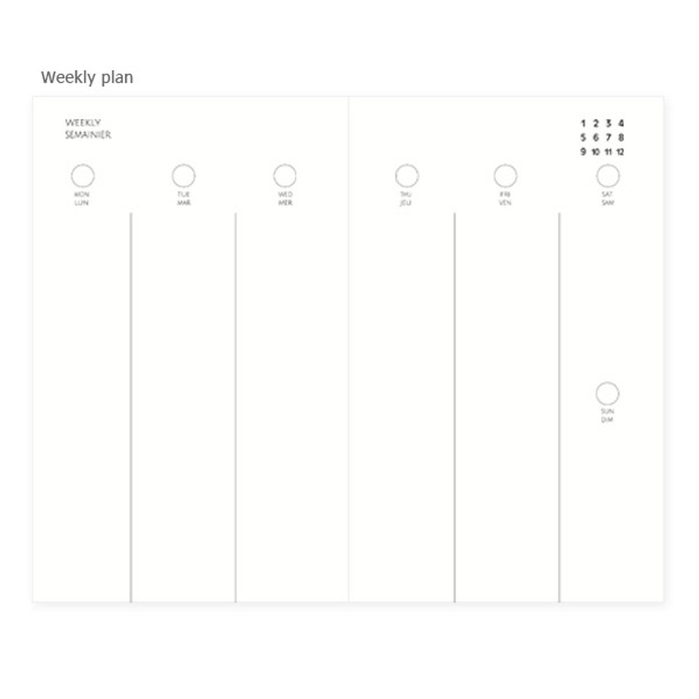 Weekly plan - Mon petit agenda weekly undated diary scheduler